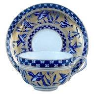 Coalport Porcelain Aesthetic Movement Bamboo Grove Cup & Saucer c.1880