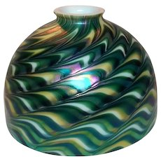 Art Glass Shade, Green Favrile, Damascene Style 7 Inch