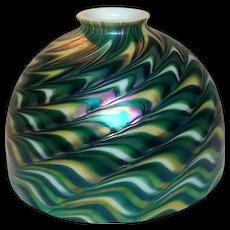 Art Glass Shade, Green Favrile, Damascene Style 7 Inch
