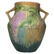 Roseville Pottery, Wisteria, Large Blue Double Handled Vase, Very Nice