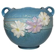Roseville Pottery, Cosmos, Large Blue Rose Bowl, Very Nice