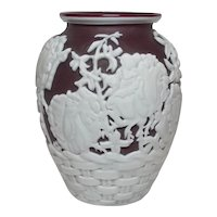 Kathleen Orme, White Cut to Red Cameo Vase, Floral Basket, Outstanding