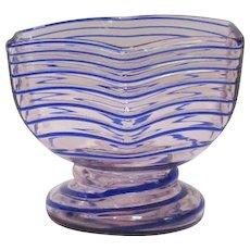 Kralik, Uranium, Applied Cobalt Spiral Threaded Compote Vase, Pink Hue