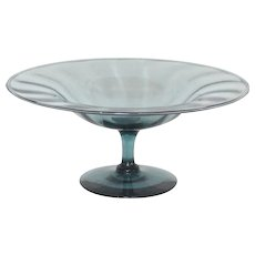 Steuben Glass, Antique Green Optic Ribbed Crystal Compote, Elegant