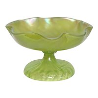Loetz, Ribbed Swirl Chartreuse Compote, HTF Form, Very Nice