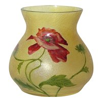 French Cameo, Beautiful Floral Acid Etched Enameled Poppy Vase, Daum Galle Era