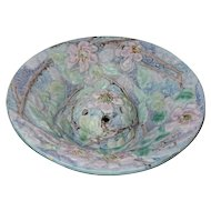 Weller Pottery, Silvertone Console Bow with Flower Frog, Gorgeous
