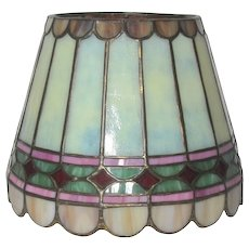 Original Duffner & Kimberly Paneled Diamond Leaded Glass Boudoir Shade, HTF