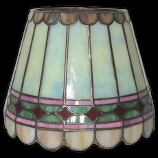 Original Duffner & Kimberly Paneled Diamond Leaded Glass Boudoir Shade, HTF