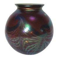 Phoenix Studios, Amethyst Aurene, Pulled Feathered Orb Vase, Lovely