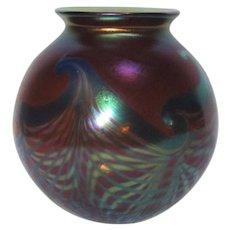 Phoenix Studios, Amethyst Aurene, Pulled Feathered Orb Vase, Lovely