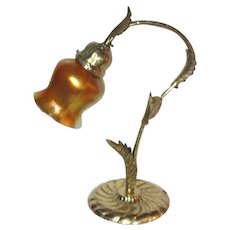 Lustre Art Gooseneck Table Lamp, Solid Brass Acanthus Leaves, Nice