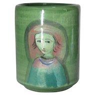 Polia Pillin, Woman w Birds, Trees, Art Pottery Vase, Mid Century Modern