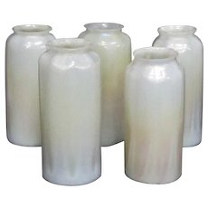 Set of 5 Bungalow Craftsman Style Art Glass Shades, Cream Shaded to Gold, Nice
