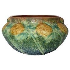 Roseville Pottery, Sunflower Planter, Jardiniere, Crisp Mold, Vibrant Blues