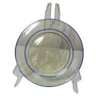 Steuben Art Glass, Amber, Flemish/French Blue Double Rim Luncheon Plate, Scarce