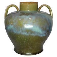 Fulper Pottery, Flambe', Seafoam Pea Green Glaze, Oriental Shaped Vase, Handles
