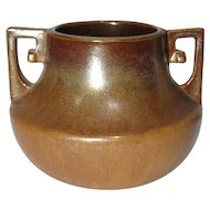 Fulper Pottery, Squat Buttressed Handled Copper Dust Vase, HTF, Rare