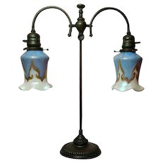 Tiffany Studios, Double Arm Student Lamp w Quezal Blue Hooked Feather Shades