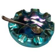 LCT Tiffany Blue Favrile Ruffled Salt w Gorham Silver Salt Spoon Beautiful Color