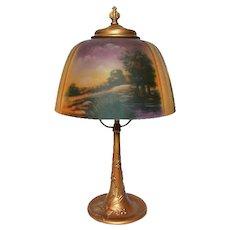 Pittsburgh Lamp, Reverse Painted Scenic Boudoir, Handel, Pairpoint Era, Nice