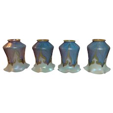 Quezal Blue Hooked Feather Art Glass Lighting Shades, Set of 4, Very Nice