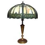 Wilkinson Panel Overlay Lamp, Very LG Shade & Tall Base, Art Nouveau, Victorian