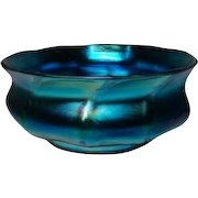 Tiffany Blue Favrile Bowl, Rare Style, Great Iridescence, Corseted Ribbed Squat Form