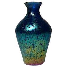 Loetz, Blue Papillon (Butterfly) Tapered Cabinet Shoulder Vase, Great Color