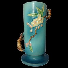 Roseville Pottery, Apple Blossom Large Blue twig Handled Vase, Excellent