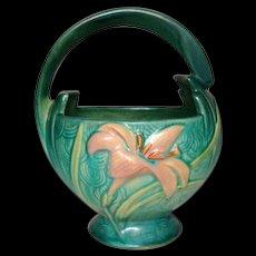 Roseville Pottery, Zephyr Lily, Green Basket, Nice Size & Shape