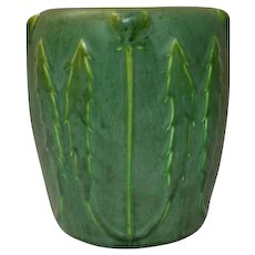 Hampshire Pottery, Matte Green Poppy Bud & Leaves Vase, Nice Deep Green Glaze