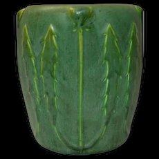 Hampshire Pottery, Matte Green Poppy Bud & Leaves Vase, Nice Deep Green Glaze