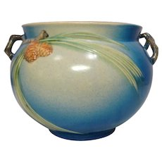 Roseville Pottery, Pinecone, Large Blue Jardiniere, Crisp Mold, Strong Color