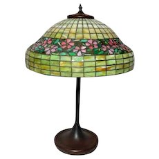 "Unique Leaded Glass 16"" Periwinkle Table Lamp, Deep Skirted Border, Very Early"