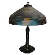 Pittsburgh Reverse Painted Scenic Moon & Lake Scenic Lamp, Outstanding Colors