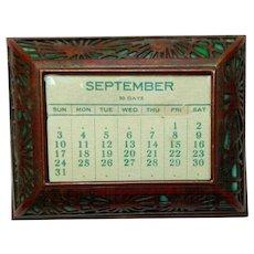 Tiffany Studios Pine Needle Desk Flat Calendar w Calendar Page, Green Glass
