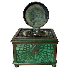 "Tiffany Studios, Pine Needle Inkwell, Green Glass, Great Patina, Large 4"" Size"