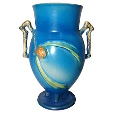 "Roseville Pottery, Pinecone, Large Blue 10"" Double Handled Vase, Crisp Mold"