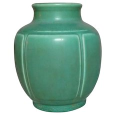 Rookwood Pottery, Arts & Crafts Design, Paneled Green Squat Shoulder Vase