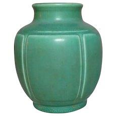 Rookwood Pottery, Arts & Crafts Design, Paneled Green Squat Shoulder Vase
