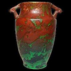 "Weller Pottery, Greora 8"" Double Handled Vase, Wonderful Glaze"