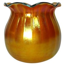 Steuben Gold Aurene Early Gas Lighting Shade, Ribbed Ruffled Poppy Bell, Rare