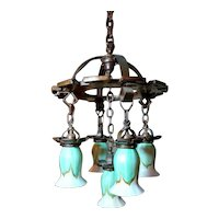 Hammered Arts & Crafts Chandelier w 5 Quezal Green Feather Pull Art Glass Shades