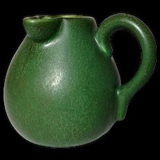 Hampshire Pottery, Matte Green Side Pour Pitcher, Great Mottled Frothy Glaze