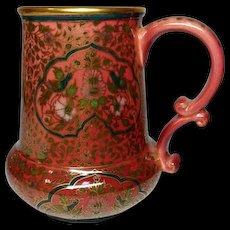 Zsolnay, Early Hungarian Faience Tankard, Mug, Oriental Design, Birds + Floral