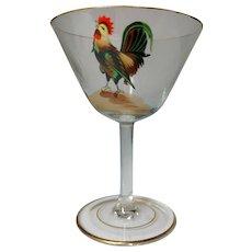 Dorflinger, Honesdale, Rooster Decorated Stemmed Cocktails, Set of 5, Very Nice