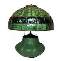 "Original Hampshire Pottery Table Lamp w 16"" Turtleback Dome, Arts & Crafts"