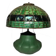 "Original Hampshire Pottery Table Lamp w 16"" Turtleback Dome, Arts & Crafts"