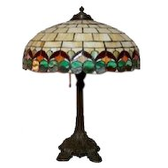 "Wilkinson Leaded Glass Lamp, 18"" Ribbon Pattern w 3 Light Original Base. Tiffany Era"